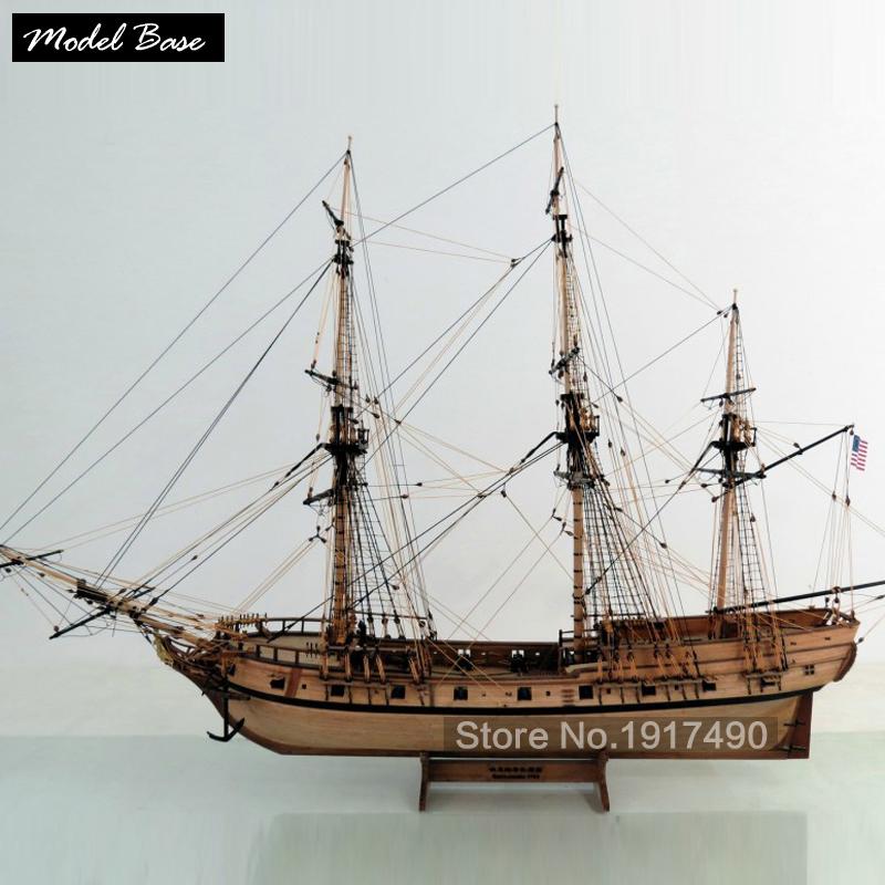Wooden Ship Models Kits Train Hobby Model-Ship-Assembly Educational Model Boats Wood 3d Laser Cut 1/48 American ship Rattlesnake(China (Mainland))