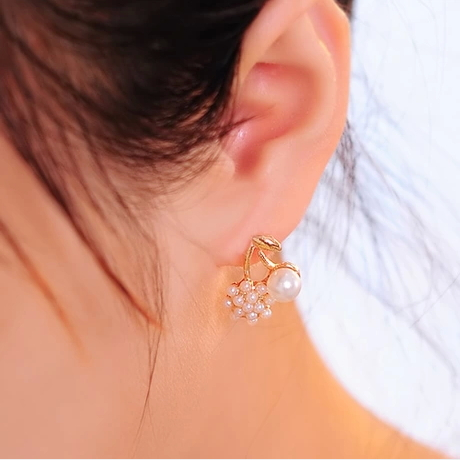 GH861 Promotion Lovely Cherry Grape Pearl Flower The Gold Drop Earrings for Women Jewelry Wholesale(China (Mainland))