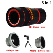 Buy 2017 5in1 Phone Camera Lens Kit 8x Telephoto Lens Fisheye Wide Angle Macro Lens Mini Tripod iPhone 6 6s 7 Plus Samsung S5 S6 for $14.95 in AliExpress store