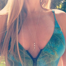 Fashion New Clear Rhinestone Crystal Necklace Jewelry Sexy Women Silver and Gold Body Chain for Swimming Wear DL8427