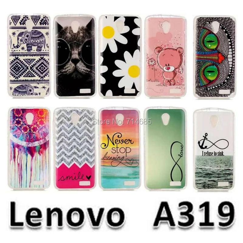 A 319 Luxury Quality Soft IMD TPU Silicone Protective Phone Bags Case for Lenovo A319 Back Cover Rilakkuma Elephant Cat Design(China (Mainland))