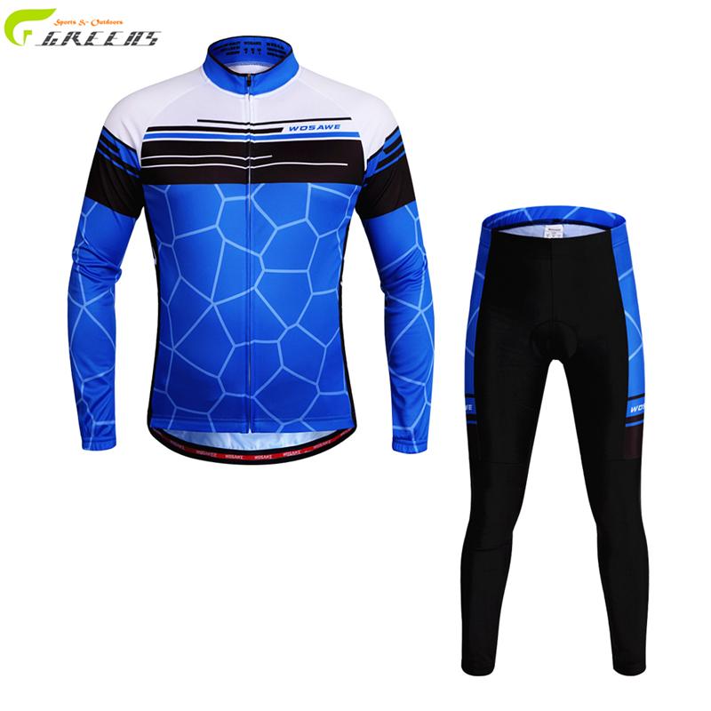 Blue color font b Mens b font bicicleta clothes long sleeve cycling jersey cycling sets bike