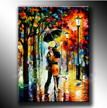Free Shipping Modern Abstract Huge Wall Art Oil Painting Kissing Lover Under the Umbrella Beautiful Oil Paintings Home Decor(China (Mainland))