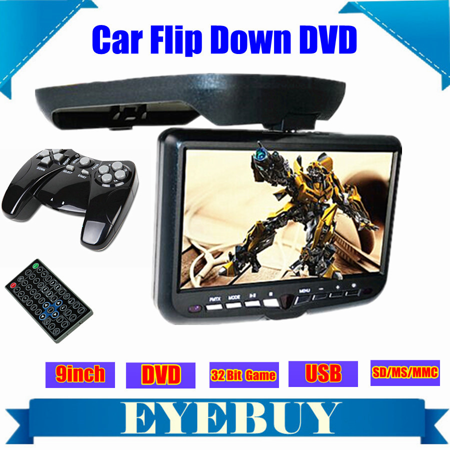 9inch LCD CAR Auto Roof Mount Flip Down Overhead automobile DVD Player Monitor screen TV USB SD IR FM game Speaker