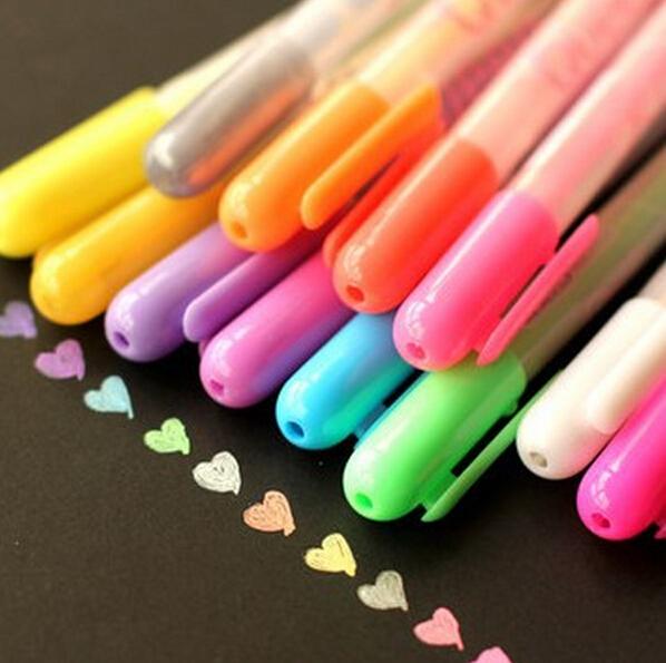 Гаджет  Watercolor Chalk Gel pen Set for Photo Scrabooking album decor Markers Highlighter School Supplies None Офисные и Школьные принадлежности