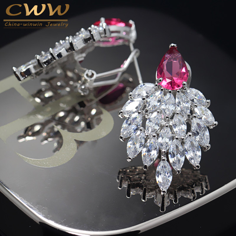 High Quality Designer Ladies Ear Jewelry Marquise Cluster Swiss Cubic Zirconia Stone Earrings For Christmas Gift CZ295(China (Mainland))