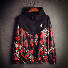 2015 hip hop jacket men spring Autumn new men's sports jacket hooded jacket Sportswear Outdoors print Windbreaker Jackets Coats