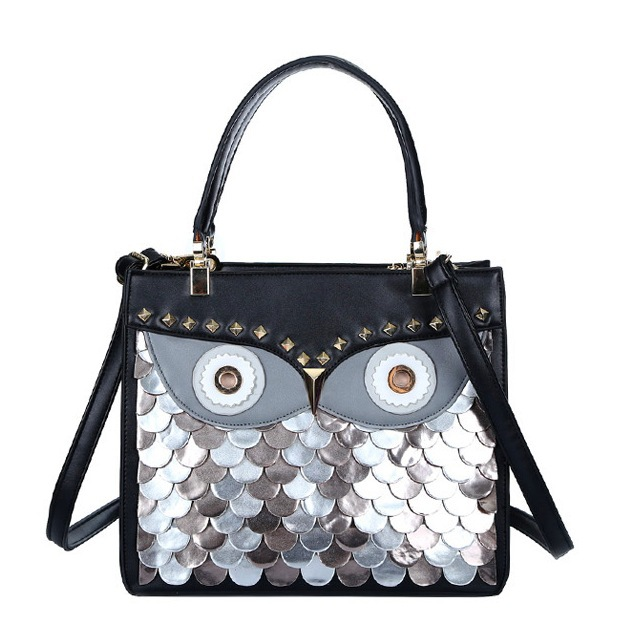 2016 Designer Women Handbags Owl Rivet Animal Shaped Shoulder Bags Large Black Ladies Tote Bag Bolsa Feminina(China (Mainland))
