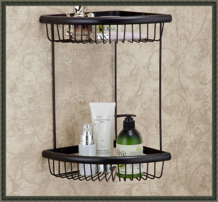 Oil Rubbed Bronze Dual Tier Bath Corner Shelf Storage Cosmetic Basket Holder dropship faucet seat(China (Mainland))