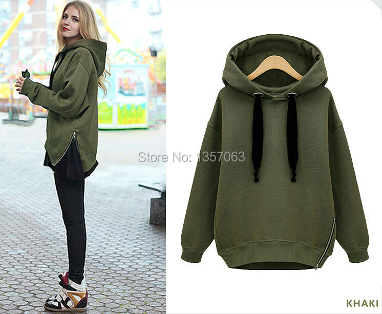 Winter Hoodies Velvet Thickening Women Sweatshirts Side Zipper Ladies Hood Pullover Sweatshirt Outerwear Green White WCO0052(China (Mainland))
