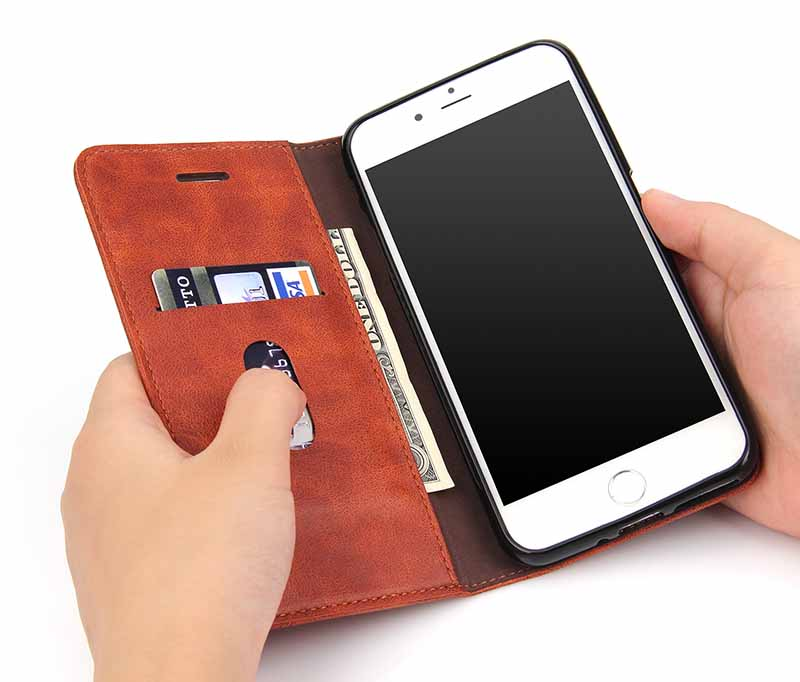 Retro Case for iPhone 6 6S Case Wallet Design for iPhone 6 S Plus Case Flip Cover Adorption Card Holder 6S Concise Phone Shell