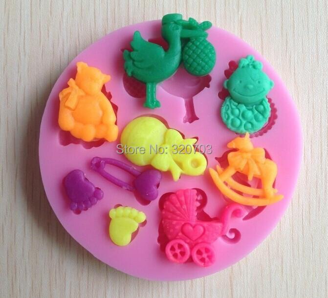 1PCS DIY Baby & Bird shaped 3D Mold Cartoon Fingre/cake tools Soap Mold Sugar craft Cake Decoration C057(China (Mainland))