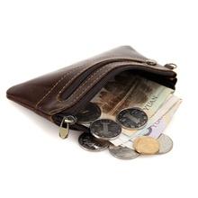 Genuine Leather Slim Women Coin Purse Men Zipper Around Wallet Card Holder 8118Q(China (Mainland))