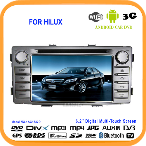 One Din Navigator Car Stereo DVD Radio Player GPS Quad Band Android 5.1 All in one HD Touch Screen 6.2'' For Toyota Hilux 2012-(Hong Kong)