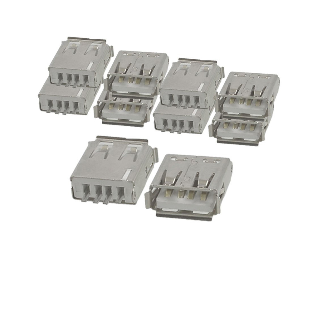 Shopping Time 10 Pcs Straight Solder Type USB A Female Plug Jack Connector