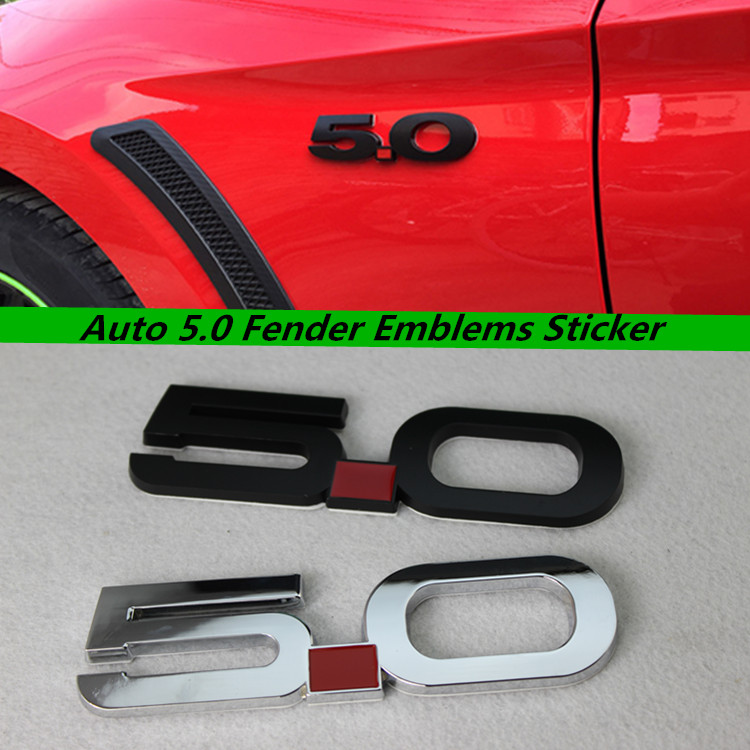 Auto 5.0 Fender Emblems Sticker for For Mustang GT 5.0 2011~2014 Chrome Black Car 3D Sticker Badge Decals Accessories(China (Mainland))