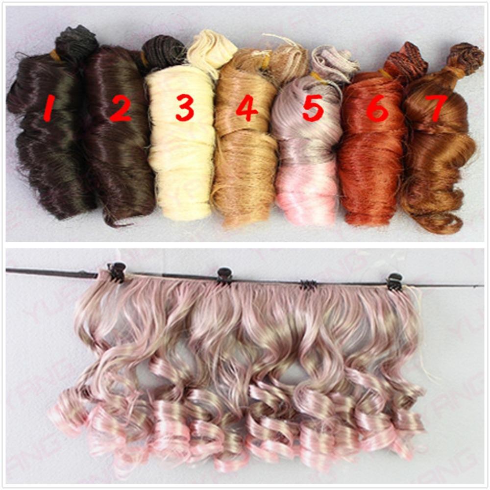 10Pcs/lot Updated Fashion BJD SD DIY Wigs Hair High-temperature Wire Handmade Curly Doll Wigs Involtini Alla Romana Wig 15*100CM(China (Mainland))