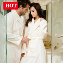 2015new winter lovers homewear coral fleece nightgown solid robe long-sleeve lounge couples bathrobe thickening warm pajama W146(China (Mainland))