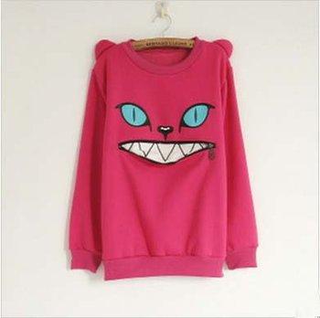 Cartoon Monster Cat Sweatshirts Women Long Sleeve Zipper Mouth Pullover Coat Fashion Autumn Tops O-Neck Sweet Garment Green/pink