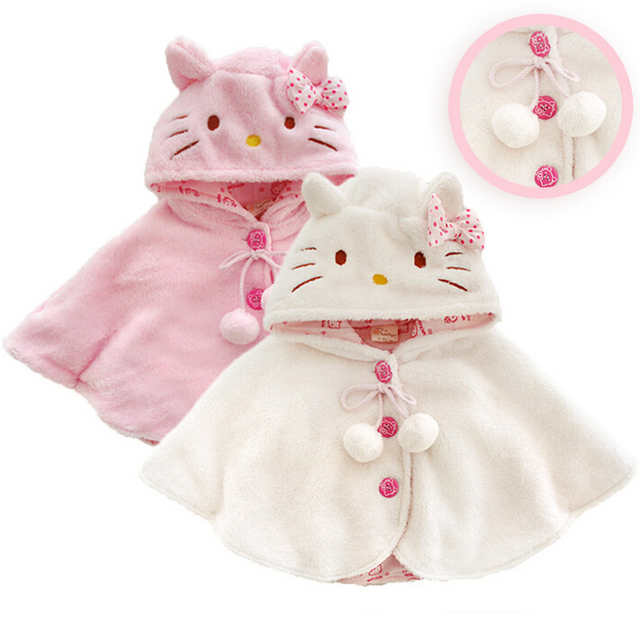 2015 Fashion 0-3Y hello kitty baby girl clothing ,soft fleece cloak toddler girl clothing cape for outerwear coat ,baby clothes(China (Mainland))