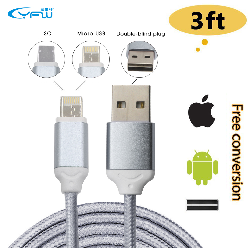 YFW 3ft Reversible Micro USB Cable and for Apple Lightning Cable Nylon Braided Cord for Android / iOS / GPS / MP3 with One Plug(China (Mainland))