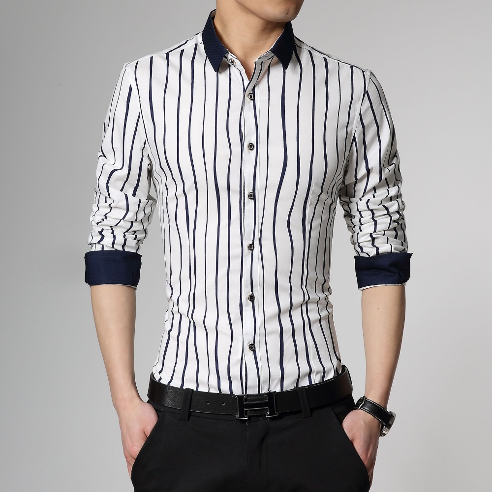 Plus Size Good Quality Mens Long Sleeve Dress Shirts 2015