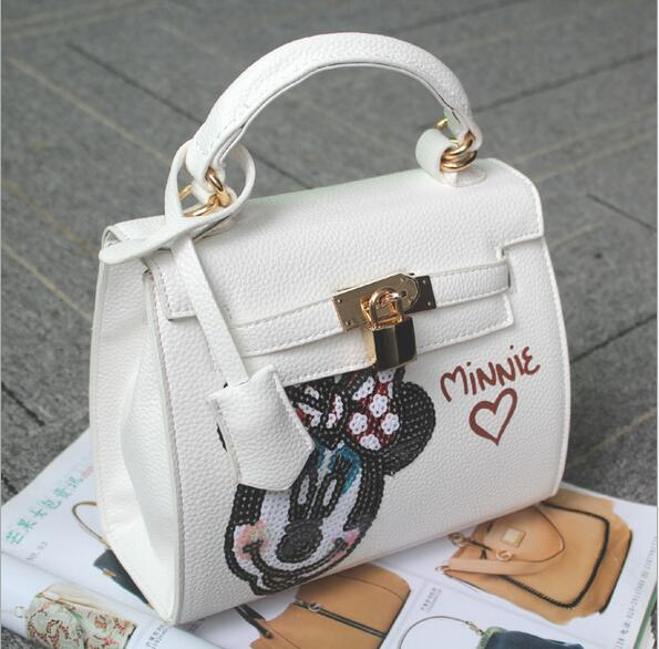 European fashion handbag Mickey cartoon shoulder bag Sequins font b animal b font messenger bag Korean