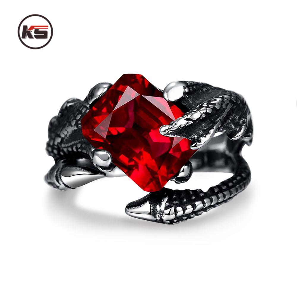 2016 New Design Vintage Punk Dragon Claw Red Ruby Ring Bicycle Gothic Knight 316L Stainless Steel Men's Ring 8-12 Code(China (Mainland))