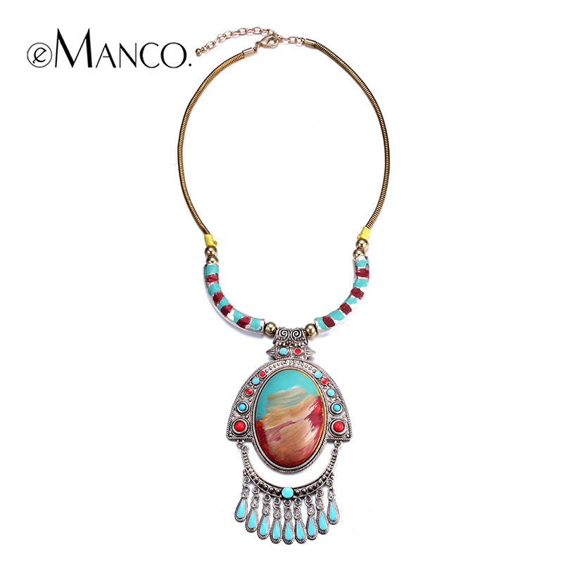 //Hand painted colorful resin necklace// gold snake chain collar necklace colorful enamel pendant ancient silver necklace eManco(China (Mainland))