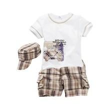 Baby Boys Infants Suit T shirt Plaid Shorts Pants Hat Clothes Outfits 3pcs