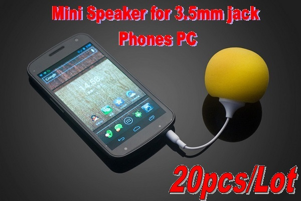 20pcs/Lot Bestselling Mini Sponge Ball Speaker w/3.5mm jack cable for iPhone iPod MP3 iPad Tablet PC Samsung HTC Cell Phones(China (Mainland))