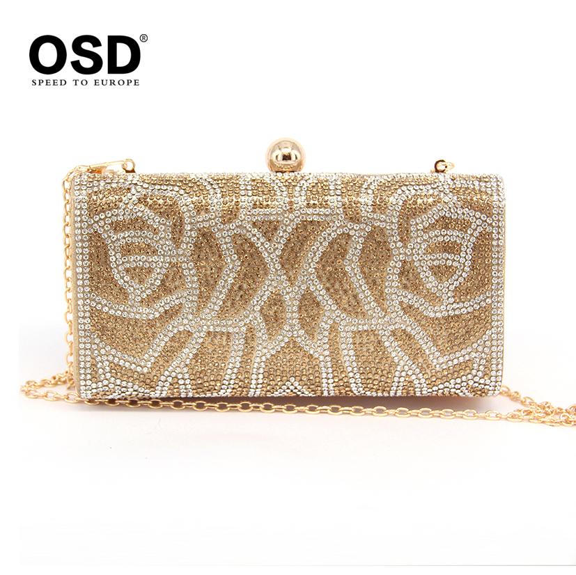2015 Hot Style Women Clutch Luxury Full Diamond Bridal Party Handbag  chains Shoulder Messenger Evening Bag Black Gold Silver<br><br>Aliexpress