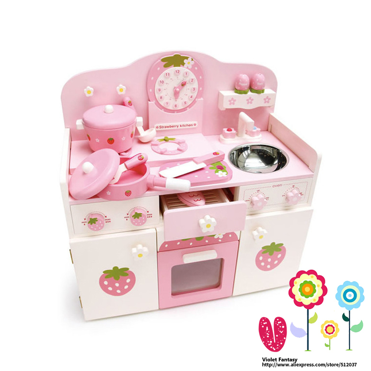 V-Fantasy Mother Garden Creamy Pink Strawberry Children Kitchen Toys Set with Water sink and Clock(China (Mainland))