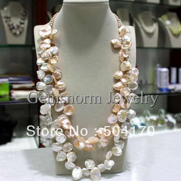Charms Big Size Keshi Reborn Pearls Necklace Handmade 2 Rows White&amp;Pink Irregular Pearl Fancy Necklace FP039<br><br>Aliexpress