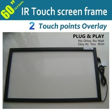 "2 Points 60"" IR Multi Touch Screen Panel Overlay Withstands severe environments,indoor and outdoor Free shipping(China (Mainland))"