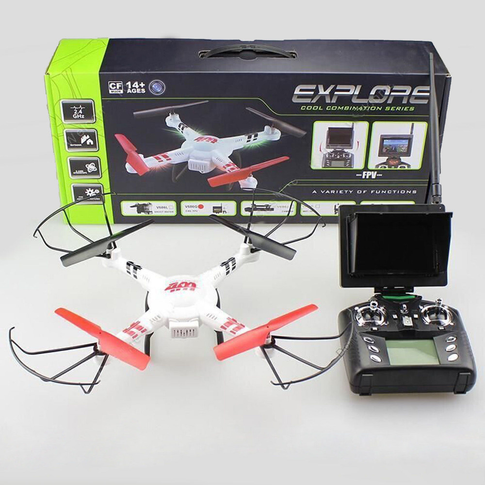 WLtoys V686G 5 8G FPV Monitor RC Quadcopter Headless Mode One Key To Return Drone With