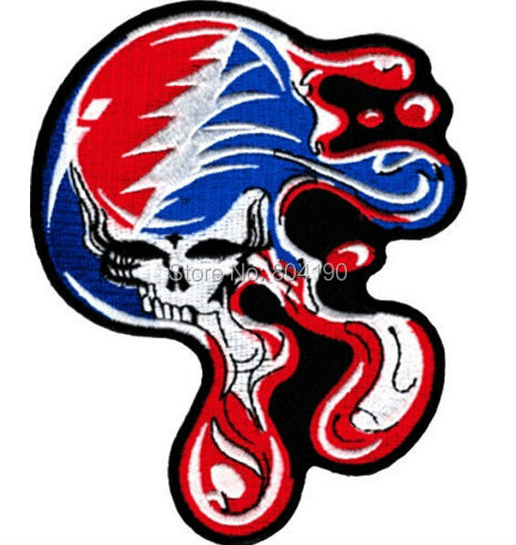 """5"""" BIG Grateful Dead Large Melting Steal Your Face Dripping Skull Music Band Heavy Metal Iron On Patch Tshirt TRANSFER APPLIQUE(China (Mainland))"""
