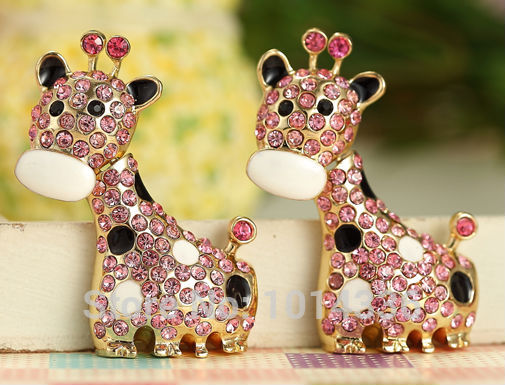 100% real capacity Hot Selling Jewelry crystal animal Giraffe USB Flash Drives thumb pen drives memory stick 8GB 16GB 32GB(China (Mainland))