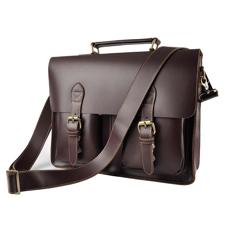 New Cowhide Vintage Men's Genuine Leather Business Handbag Briefcases Crazy Horse Messenger Shoulder bag Cowhide Laptop Bag 1061(China (Mainland))