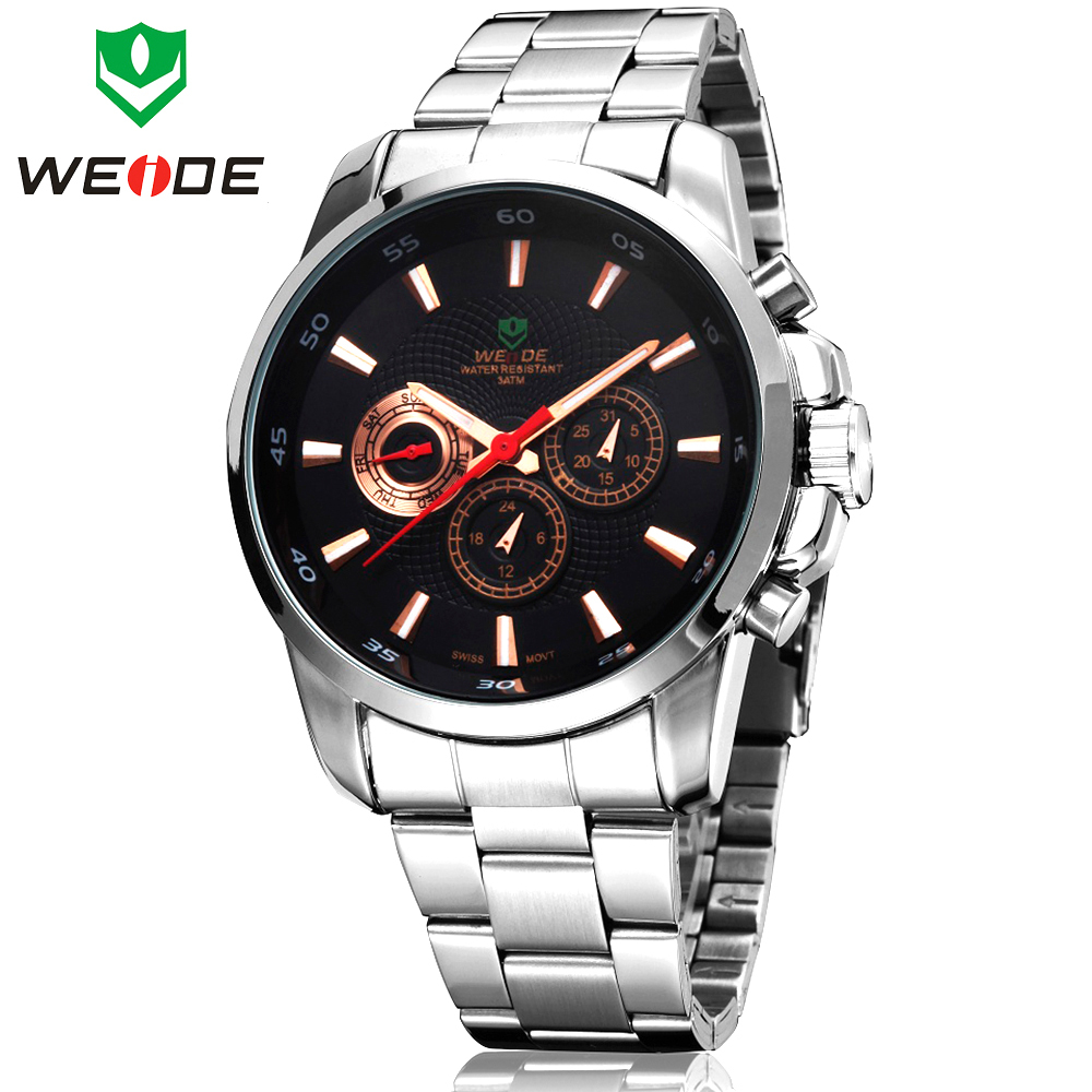 Original Brand WEIDE Date Day 24 Hour Display Multi Function Full Steel Fashion Mens Sports Watch