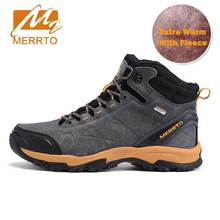 Buy MERRTO Waterproof Hiking Boots Men Outdoor Genuiner Leather Mens Hiking Shoes Winter Fleece Warm Snow Boots Trekking Shoes for $63.15 in AliExpress store