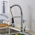 2016 New Chrome Finish Spring Kitchen Faucet Two Swivel Spouts Mixer Tap Hot and Cold Hose