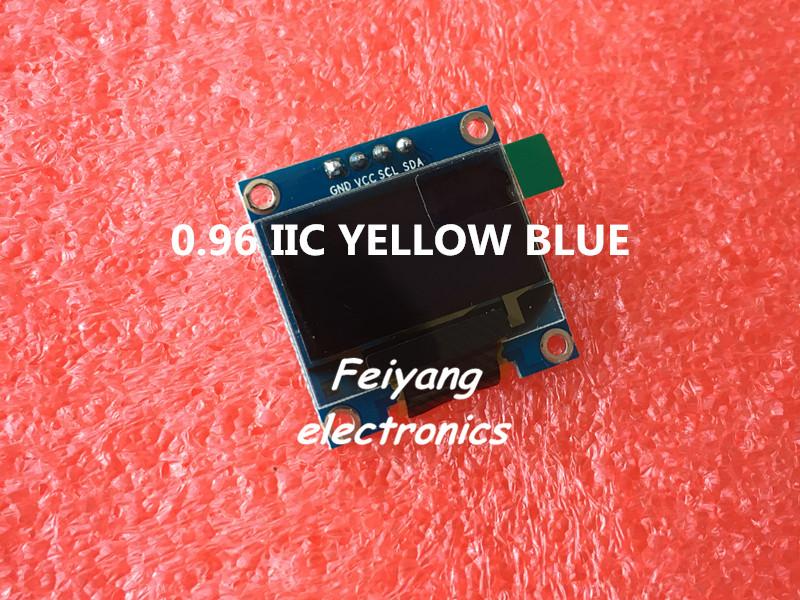 "1pcs 0.96""yellow blue 0.96 inch OLED module New 128X64 OLED LCD LED Display Module For Arduino 0.96"" IIC I2C Communicate(China (Mainland))"