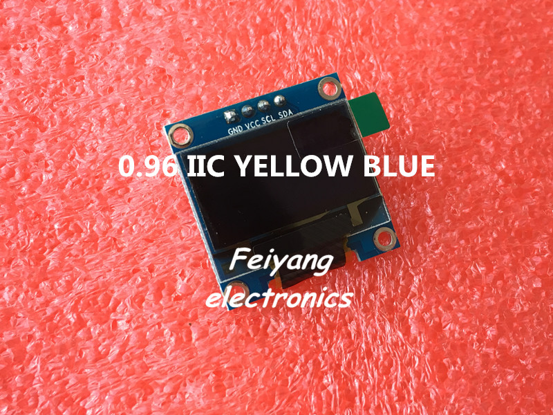 "1pcs 0.96""yellow blue 0.96 inch OLED module New 128X64 OLED LCD LED Display Module For Arduino 0.96"" IIC I2C Communicate(China (Mainland))"