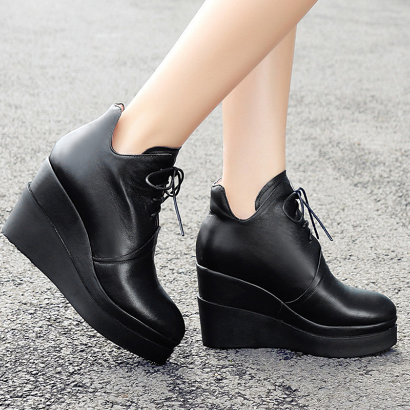New arrival Autumn popular wedges high heel genuine leather ankle boots for women fashion leisure lace up round toe shoes <br><br>Aliexpress