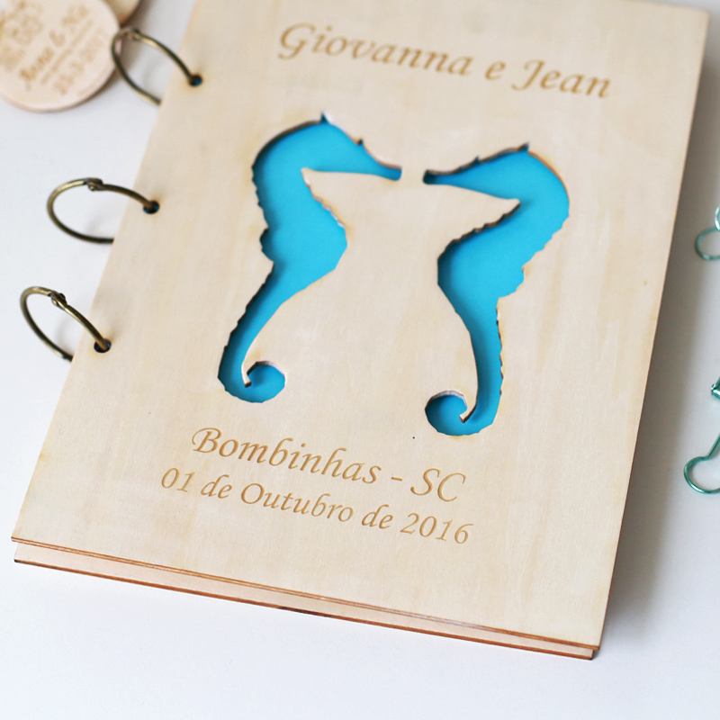 2016 Free Shipping Beach Destination Personalized Wedding Guest Book with Seahorse Design Christmas Gift