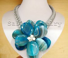 """Free Shipping Wholesale Huge 17"""" 30x35mm Blue Agate Flower Necklac Jewelry(China (Mainland))"""