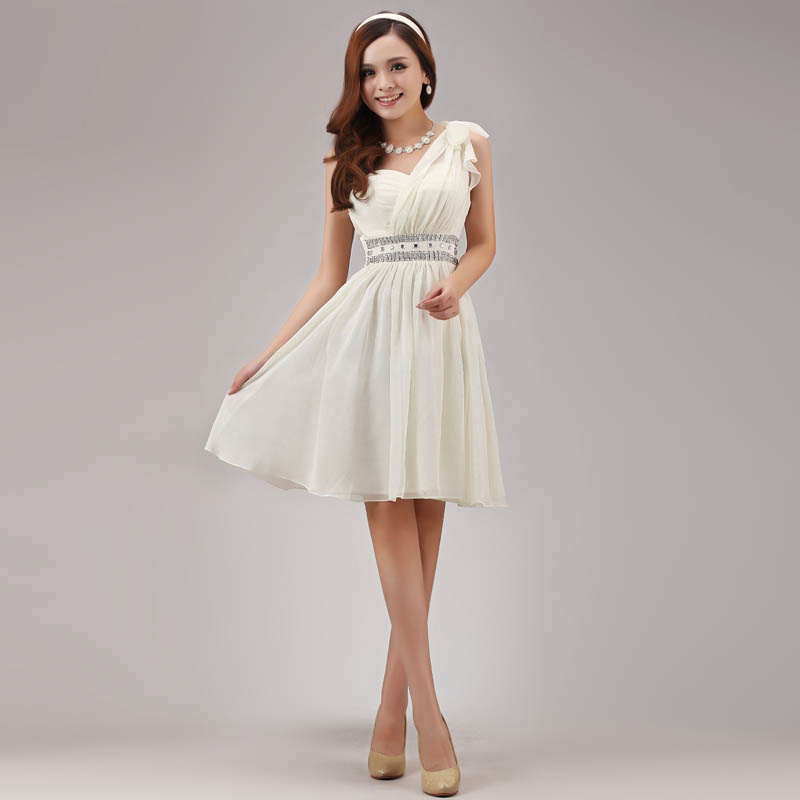 2016 new fashion Bride one shoulder sequin dress bride evening dress prom dress married short formal dress(China (Mainland))