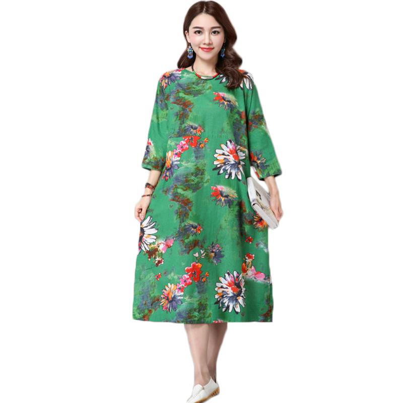 Vintage Plus Size Cotton Linen Dress Women 3/4 Sleeve Casual A Line Print Long Maxi Dress Vestidos Dresses 2016 New Summer Style(China (Mainland))