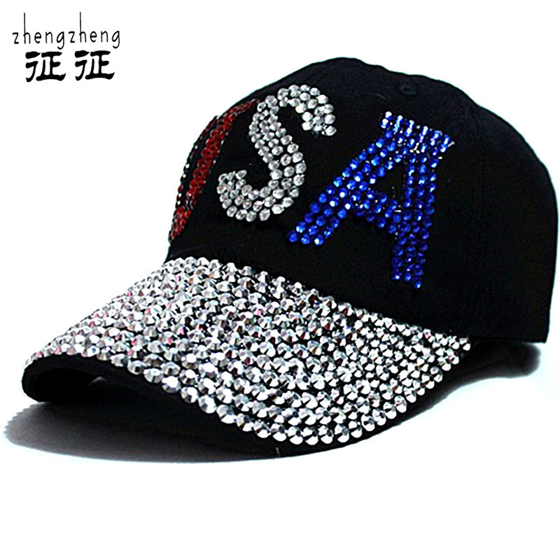 2014 New black Rhinestone hat  cap Fashion Hiphop Cap Baseball Caps Super Quality Unisex Outdoor Sport Hats for men womenОдежда и ак�е��уары<br><br><br>Aliexpress
